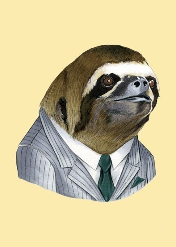 Sloth Portrait animal art print by Ryan Berkley 5x7