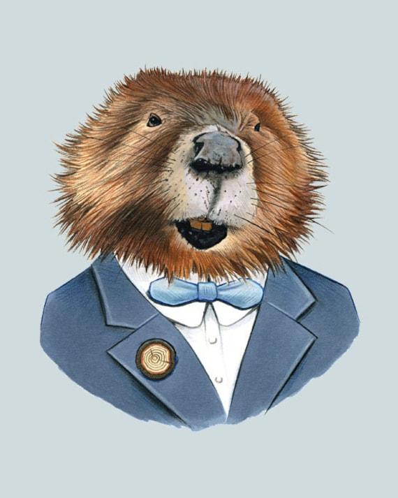 Beaver art print 8x10