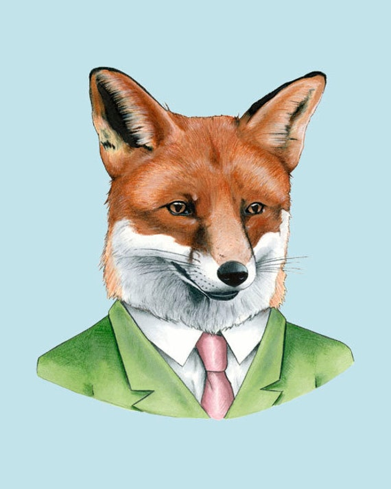 Fox art print - animal art - woodland animals - art print - modern nursery - animals in clothes - portrait -Ryan Berkley Illustration 8x10