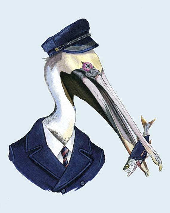 Pelican and Fish art portrait 8x10