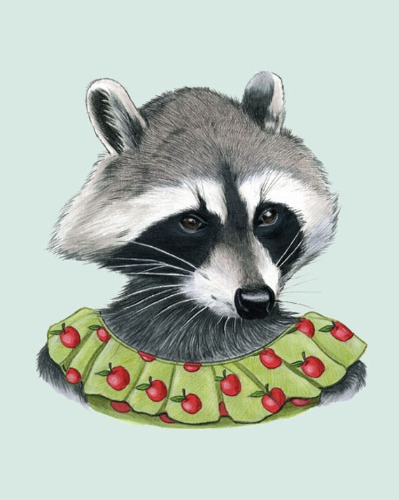Raccoon Lady art print 11x14