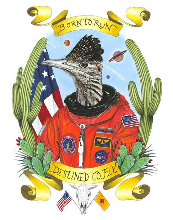 Roadrunner Astronaut - Limited Edition art print by Ryan Berkley