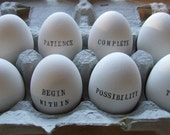 CUSTOM ceramic egg with hand stamped personalized word or name- a symbol of spring, hope, and renewal - easter - from Paloma's Nest