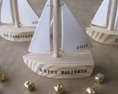 personalized sailboat ornament decoration with custom name or text by Paloma's Nest