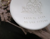 "Ring Bearer Bowl in Spanish ""Todo el Amor de los Cielos-  All the Love of the Heavens""  ring dish with church- by Paloma's Nest"