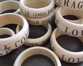 wooden bangle bracelet personalized mother's day CUSTOM with stamped text phrases names or dates by Paloma's Nest -Good Morning America
