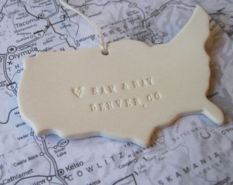 personalized CUSTOM map ornament where we met or where you were born with personalized names, date and location by Paloma's Nest