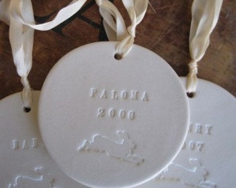 CUSTOM baby ornament with rabbit - personalized - by Paloma's Nest- baptism, christening, christmas