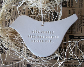 CUSTOM dove ornament personalized with names, date, or words of your choice- a text tile decoration by Paloma's Nest
