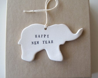 Elephant Ornament Happy New Year by Paloma's Nest