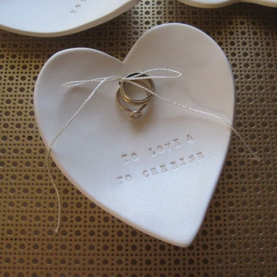 wedding ring holder, heart, jewelry dish, pillow alternative CUSTOM ceramic Ring Bearer Bowl with personalized  from Paloma's Nest