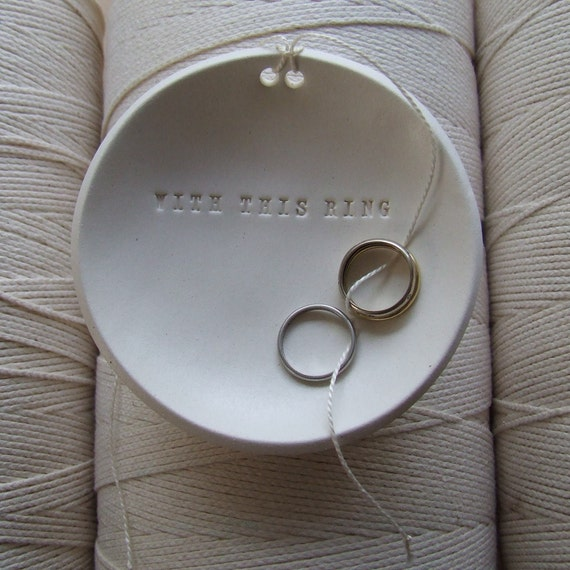 wedding ring holder WITH THIS RING ring bearer bowl by Paloma's Nest, Ring Pillow Alternative