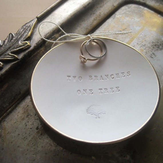 Two Branches One Tree Ring Bearer Bowl with gold leaf edge- wedding ring holder, ringbearer by Paloma's Nest