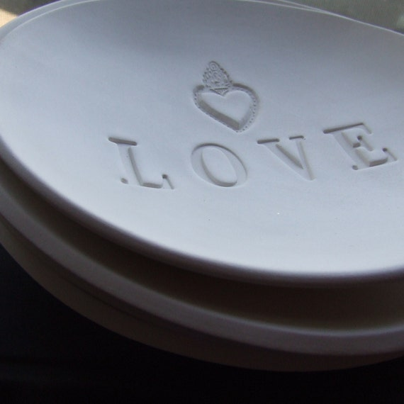 large LOVE earthenware text bowl with milagro heart
