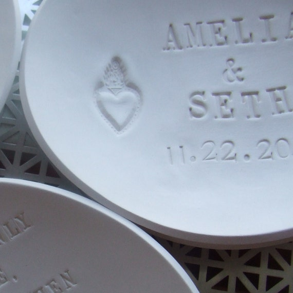 large CUSTOM heirloom bowl-name and date commemorative text - for wedding, anniversary, or baby by Paloma's Nest