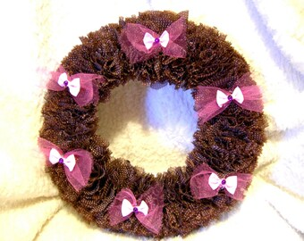 Vintage Fabric Custom Made Brown Wreath 10 inch