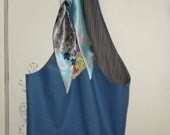 Large Bucket Style Tote Bag Satin Print Scarf Fully Lined Inner Pocket Blue Purse Beach Bag Shopping by Make Mine Pretty