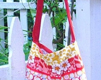 Patchwork Hobo Style Bag Lined Large Roomy Tote Long Twill Strap Vintage Trims Vintage Fabric Shopping Beach  By Make Mine Pretty