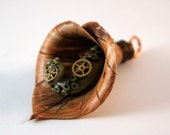 Reserve Listing for Susan H: Steampunk Polymer Clay Calla Lilly Pendant