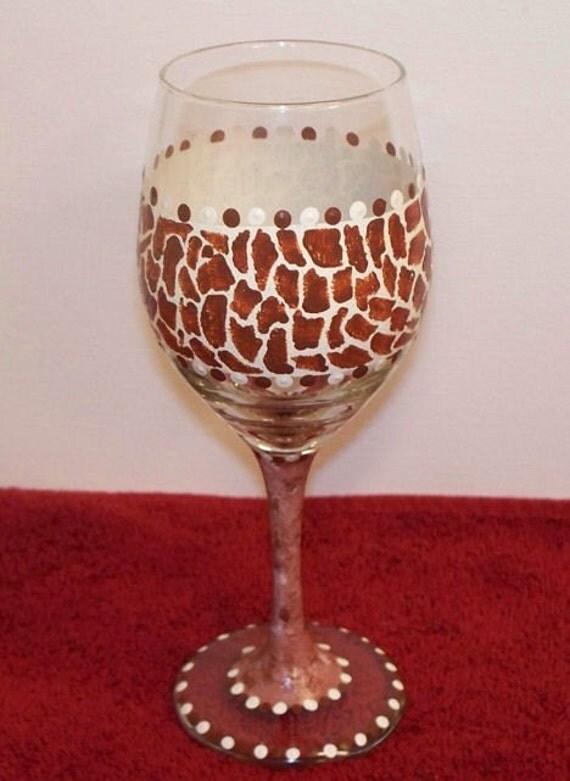 White Wine Glasses with Giraffe Print