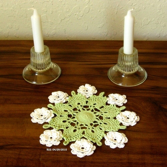 Hand-Crocheted Lace Doily - 3D Flowers on Cluny Lace, Floral, Fiber Art, Decor