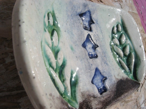Blue Homes in the Woods ceramic Soap Dish