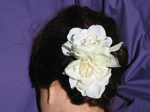 Large Double Gardenia wedding hair flower looks and feels real.