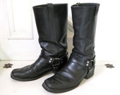 Vintage Motorcycle Boots - Mens - Black Leather - size 11