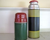 Thermos Bottles - Green, Navy Blue, Red - Vintage Camping Gear