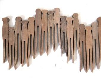 Vintage Clothespins - Rustic - 16
