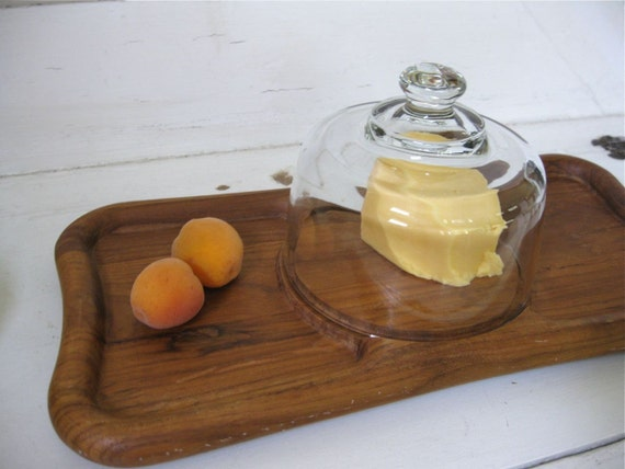 Vintage Cheese Dome on Wood Tray - Midcentury Modern