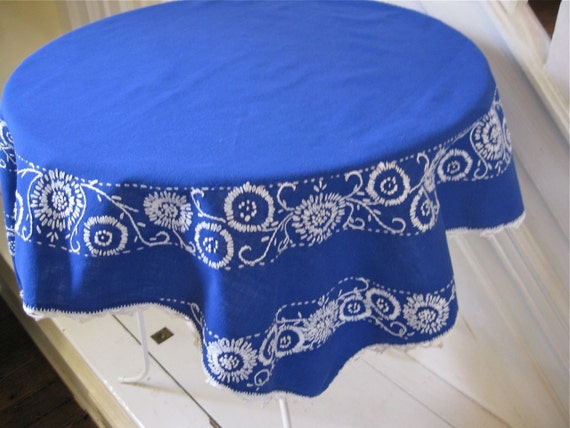 RESERVED  - Vintage Linens - Embroidered Tablecloth - Blue and White
