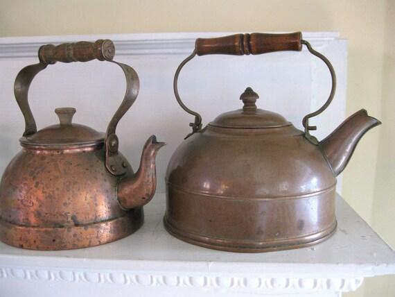 Two Vintage Copper Teapots - Primitive