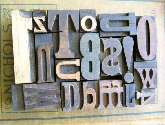 Vintage Letterpress - Assorted Letters and Numbers