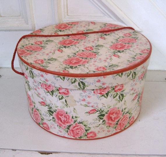 Vintage Hatbox - Pink Rose Pattern - Large