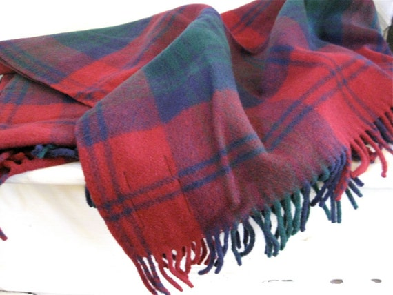 Plaid Wool Blanket - Cranberry Red, Blue, Green