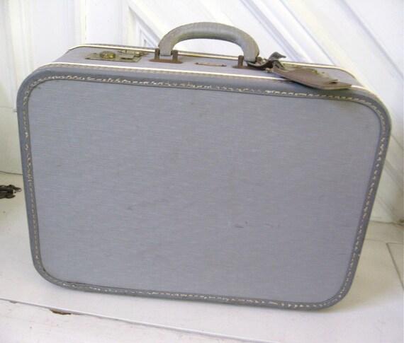 Vintage Suitcase - Grey Carry On Bag