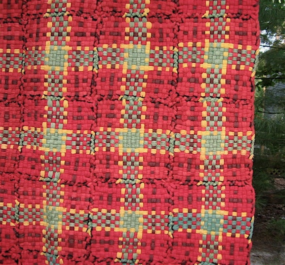 Vintage Woven Potholder Rug Red Yellow Green Plaid Retro