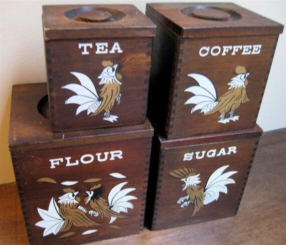 Wood Canister Set - Vintage Roosters