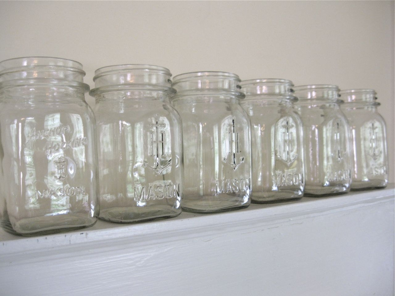 Vintage Mason Jars 6 Anchor Hocking Pints