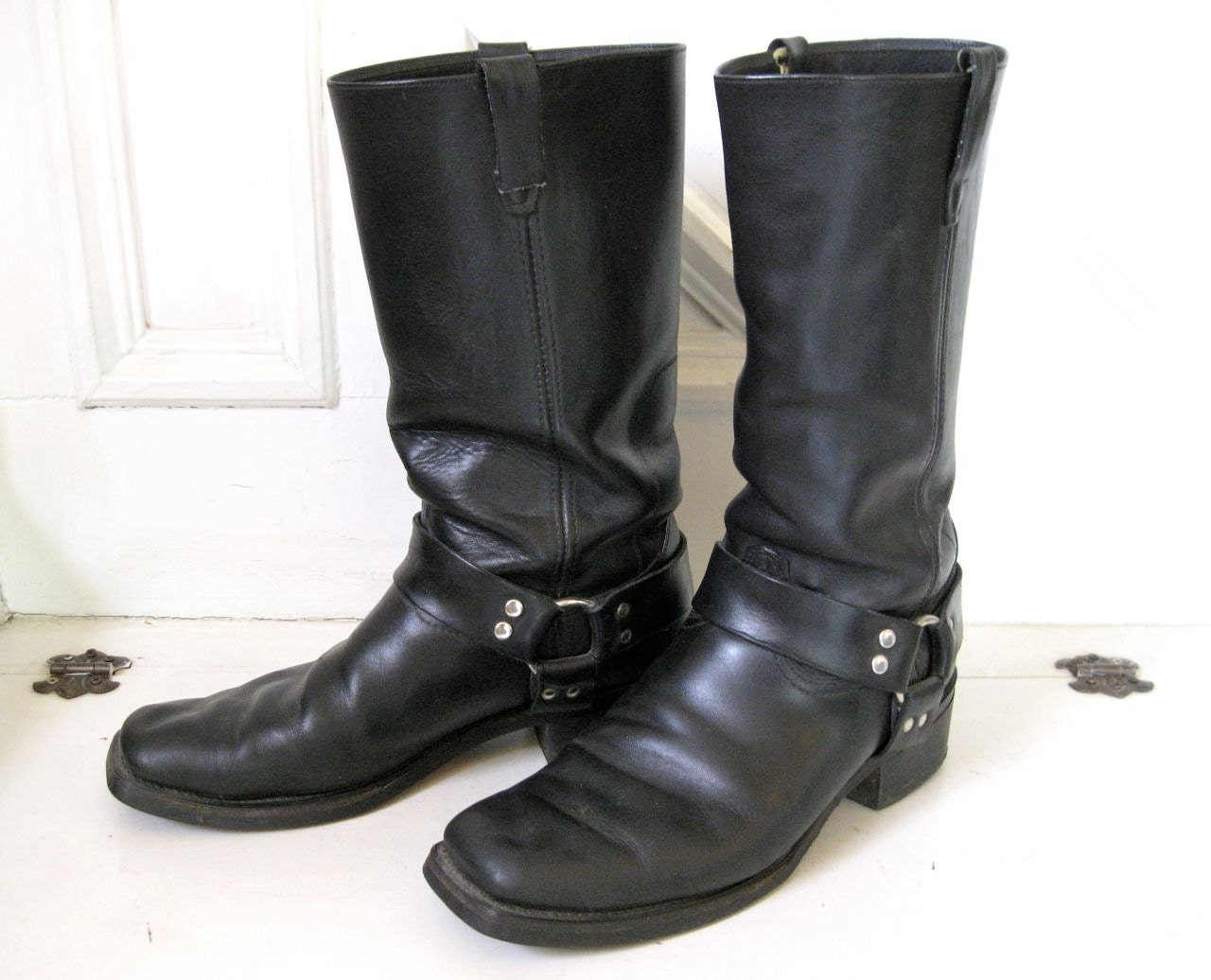 vintage motorcycle boots mens black leather size 11