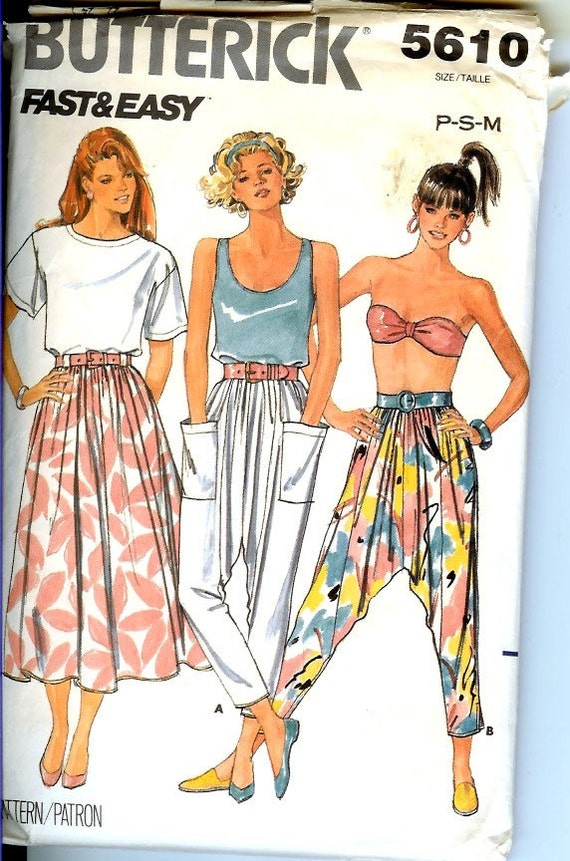 Vintage 80s Drop Crotch Pants and Skirt Sewing Pattern, Butterick 5610, Fast and Easy, Size M (12-14)