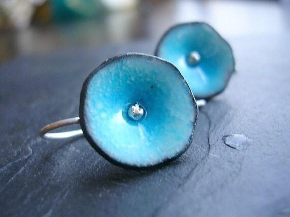 READY TO SHIP Aqua Blue Enamel Earrings Poppy Hook Earrings