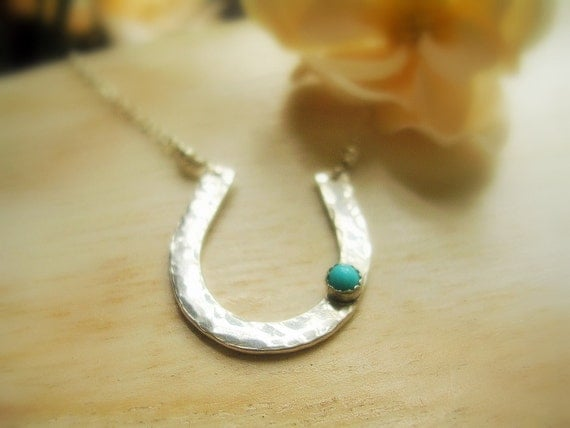 Silver Horseshoe Turquoise Accent Necklace Lucky Charm Necklace - MADE TO ORDER