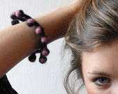 Woolly Bobble Bracelet - pink