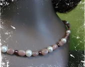 Moonstone and Pearl Necklace and Earring Set