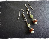 Modern Green Jade Earrings with brown accent