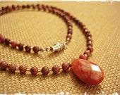 Salmon-Rose Beaded Pendant Necklace