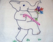 Elephant Hand Embroidered Tea Towel