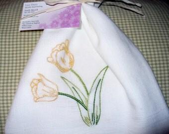 Tulip Hand Embroidered Tea Towel